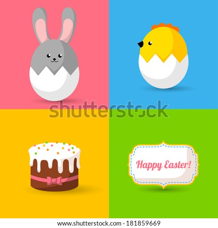 Happy Easter cards illustration with Easter eggs, Easter bunny, Easter chick, Easter cake and frame with font. Holiday symbols. Vector illustration. Easter rabbit. - stock vector