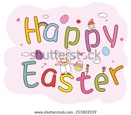 Happy easter cards illustration with easter eggs, easter bunny, easter rabbit and font. - stock vector