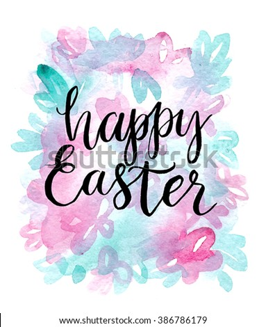 Happy easter cards illustration with font. - stock vector