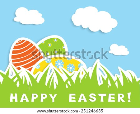 Happy easter celebration card with tree colorful eggs in green grass, blue sky with white cloud, vector illustration - stock vector