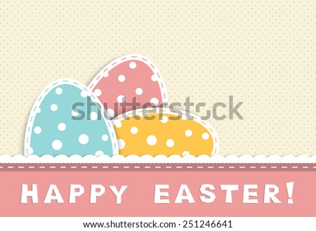 Happy easter celebration card with tree eggs with ball in retro colors, textile and paper applique, vector illustration - stock vector