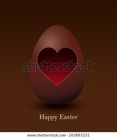 Happy Easter Chocolate Egg with a Heart Vector Card Illustration.  - stock vector