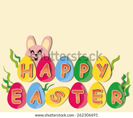 Happy Easter - colorful eggs and rabbit