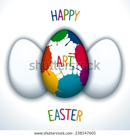 Happy Easter creative poster with paschal decorated egg