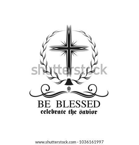 Happy Easter Crucifix Cross Icon Resurrection Stock Vector