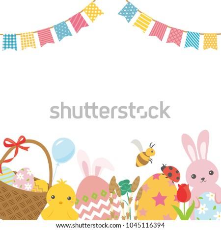 Happy Easter Cute Cartoon Vector Frame Stock Vector HD (Royalty Free ...