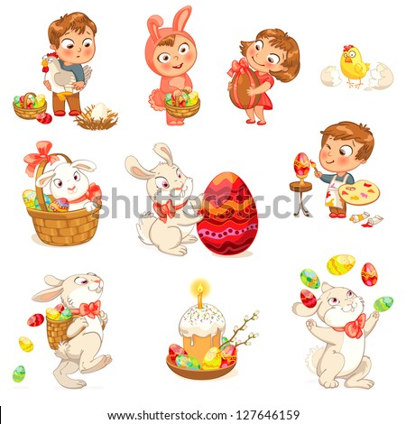 Happy Easter. Cute Easter bunny sitting in a basket, juggling with easter eggs, decorated Easter Egg. Little girl holding large chocolate egg. Boy dressed in a bunny costume. Vector illustration. Set - stock vector