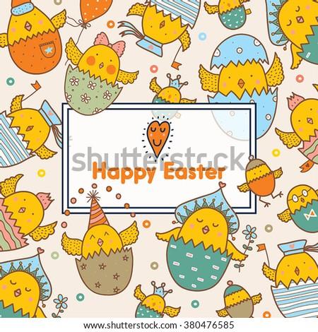 Happy Easter. Cute postcard. Vector. - stock vector