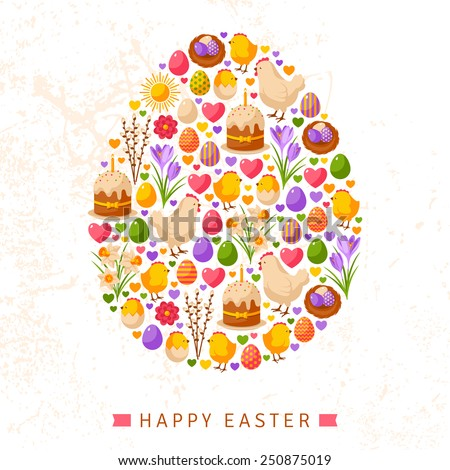 Happy Easter Day Concept with Flat Lovely Icons Arranged in Form of Egg. Vector illustration. Eggs Collection, Chick and Hen, Daffodils and Crocuses, Sweet Cake, Nest with Eggs. Easter Egg Hunt. - stock vector