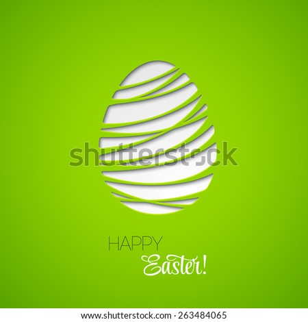 Happy Easter decorated card paper egg. Vector design  - stock vector