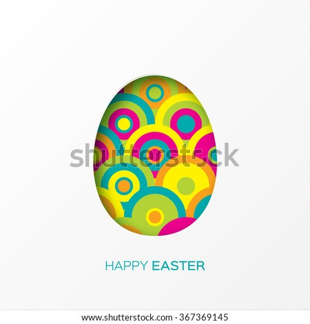 Happy Easter decorated  paper egg on colorful circle background. Vector design - stock vector