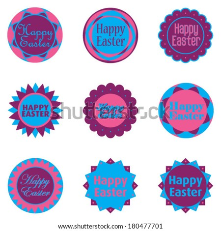happy easter - decorative easter eggs - stock vector