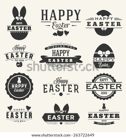 Happy Easter Design Collection - A set of twelve dark colored vintage style Easter Label Designs on light background - stock vector