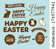 Happy easter design elements, badges and labels - stock