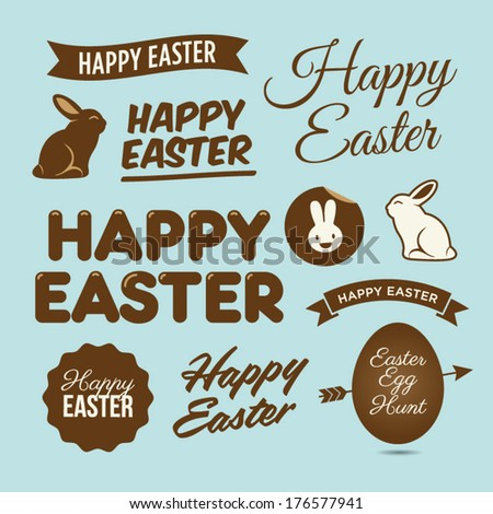 Happy easter design elements, badges and labels - stock vector