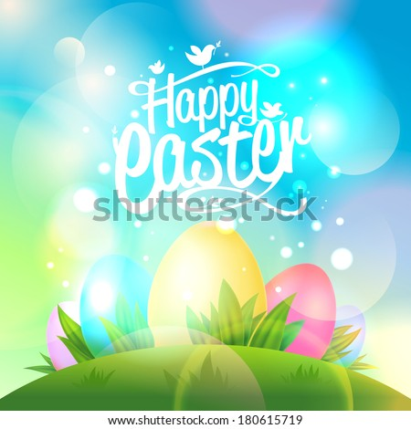 Happy Easter design with eggs and bokeh lights. Eps10. - stock vector