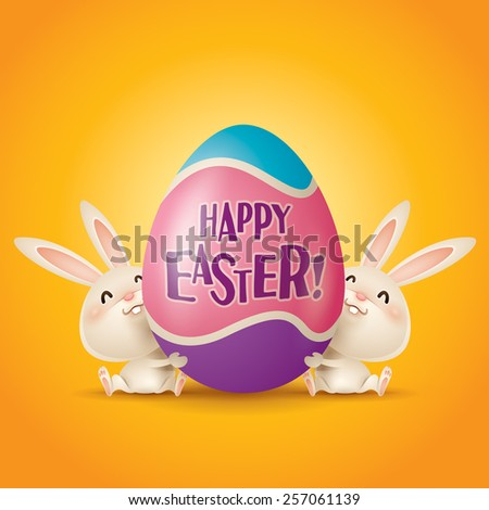 Happy Easter! Easter bunnies and egg in plain background. - stock vector
