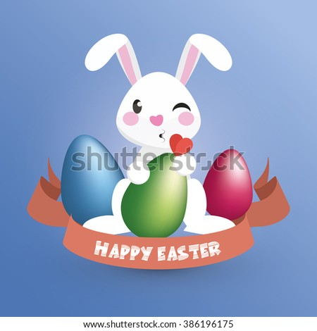 Happy Easter. Easter Bunny / Happy Kissing Rabbit holds an egg - Greeting Card and Poster Template with Blue and White Background and Emotional Expression. Vector Element Graphic Illustration Design.