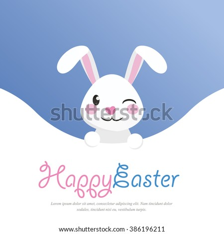 Happy easter easter bunny winking rabbit stock vector 386196211 happy easter easter bunny winking rabbit greeting card and poster template with blue negle Images
