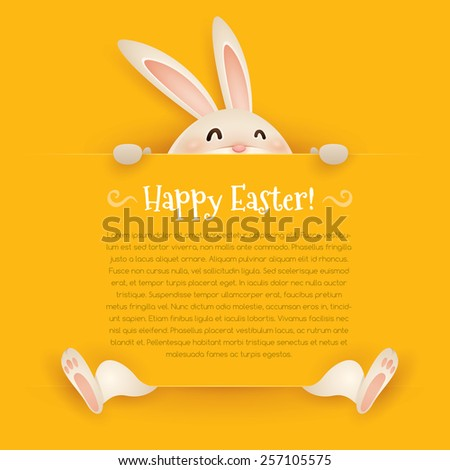 Happy Easter! Easter greeting card. Wide copy space for text. - stock vector