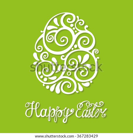 Happy Easter egg.Greeting Card, vector background.Easter egg shape with Hand swirl pattern,lettering title with long shadow,green backdrop.Vector  Easter calligraphy decoration,logo,symbol - stock vector