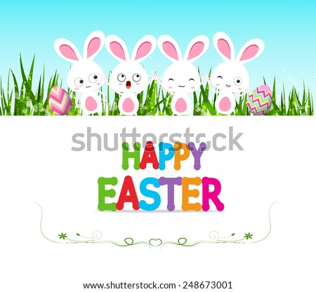 Happy Easter eggs card with bunny and lettering - stock vector