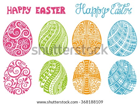 Happy Easter eggs.Hand drawing eggs,titles set.For greeting Card,vector background.Easter egg shape with swirls pattern,hand drawing  lettering.Isolated on white.Vintage decoration,logo symbol - stock vector