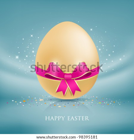 Happy easter eggs. with colorful ribbon blue fabric background. vector illustration - stock vector
