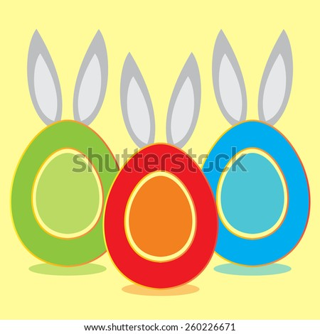 Happy easter eggs with rabbit ears. Vector illustration. - stock vector
