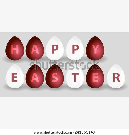 happy easter from red and white eggs eps10 - stock vector