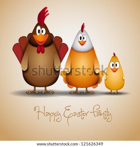 Happy Easter - Funny chicken family - vector illustration - stock vector