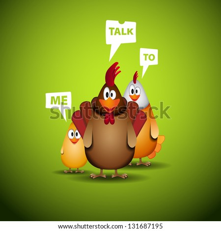 Happy Easter - Funny chicken family with speech bubbles - vector illustration - stock vector