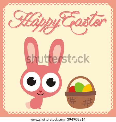 Happy Easter Funny Easter Bunny Basket Stock Vector