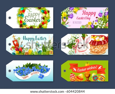 Happy easter gift tag greeting label stock vector hd royalty free happy easter gift tag and greeting label set easter egg rabbit bunny egg negle Image collections