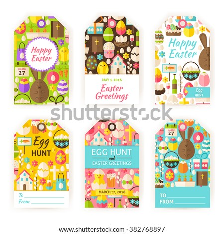 Happy easter gift tag template set stock vector 382768897 happy easter gift tag template set flat vector illustration of spring christian labels printable negle Choice Image