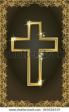 Happy Easter golden christian cross card, vector illustration - stock vector