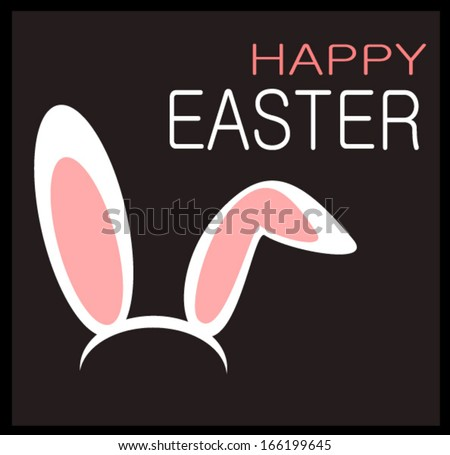happy easter graphic design with rabbit ears - stock vector