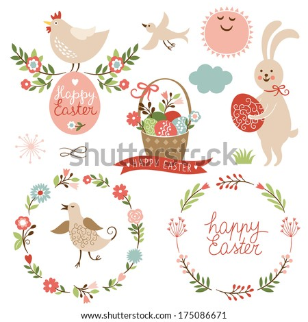 Happy easter graphic elements,vector set  - stock vector