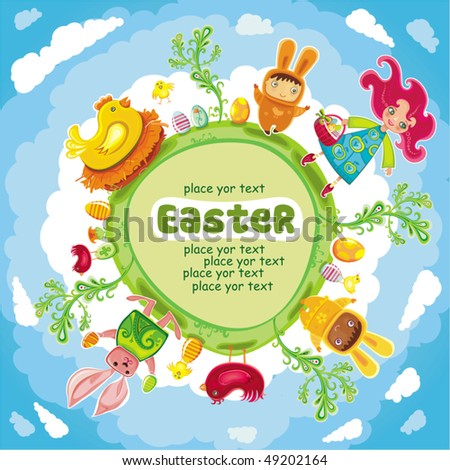Happy Easter green round card - stock vector