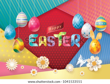 Happy easter greeting card colorful easter stock vector 2018 happy easter greeting card colorful easter eggs hanging and white flowers ribbon easter alphabet m4hsunfo