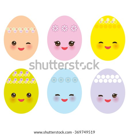 Happy Easter greeting card design. Kawaii set colorful blue green orange pink yellow egg with pink cheeks and winking eyes, pastel colors on white background. Vector - stock vector