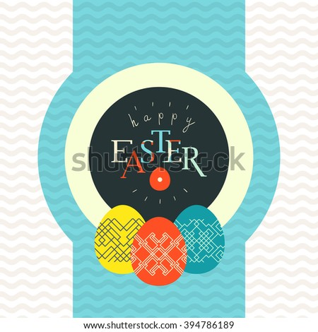Happy Easter greeting card design. Pained eggs decorated with linear pattern - stock vector