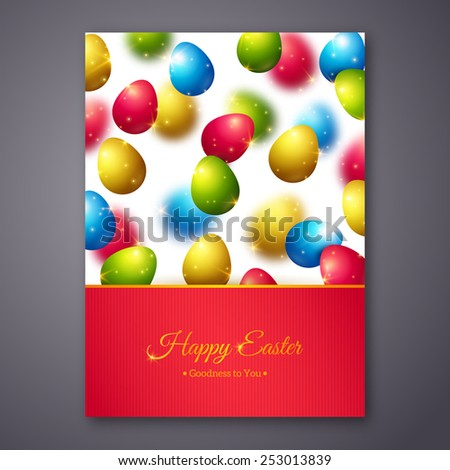 Happy Easter Greeting Card Design with Colorful Eggs. Vector Illustration. Realistic Shining Easter Background with Flying Eggs and Sparkles. Happy Easter Holiday Greetings. Easter Egg Hunt. - stock vector
