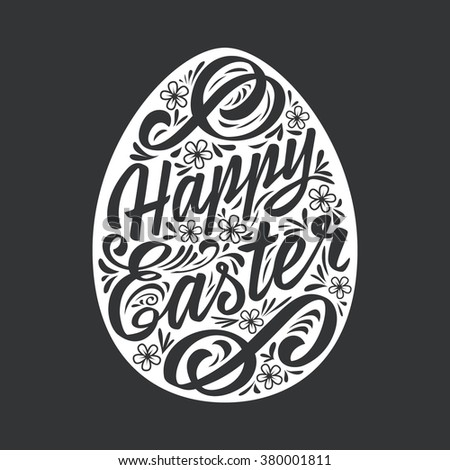 Happy Easter greeting Card, hand-drawing Lettering. Vector Typography Inscription - stock vector