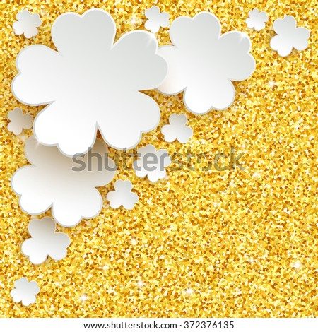 Happy Easter greeting card, holiday glitter dust sparkle gold background with white paper flowers, vector illustration with place for text - stock vector