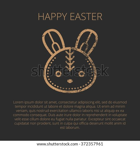 Happy Easter Greeting card template in minimalist ethnic style. Golden Easter rabbit on a black background. Grunge texture