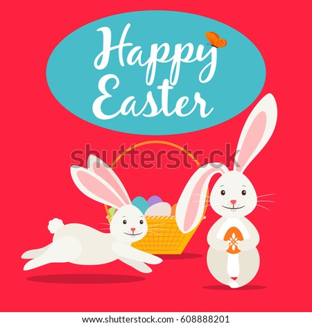 Happy Easter Greeting Card Template Cute Stock Vector