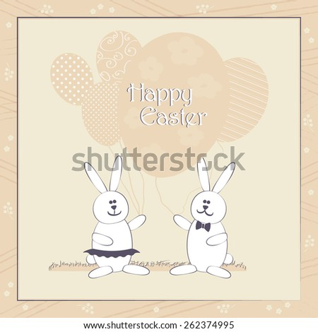 Happy Easter greeting card vector illustration. Cute Easter Bunny couple with balloons resembling egg shape. Traditional Spring holiday invitation & greeting card template. Layered editable. - stock vector