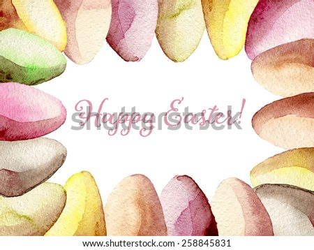 Happy Easter greeting card watercolor hand drawn vector, eps10 - stock vector