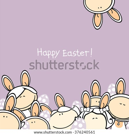 Happy Easter greeting card with a group of funny kids in bunny costumes and Easter eggs - stock vector